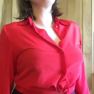Bright Red Vintage Silky Button Down Blouse